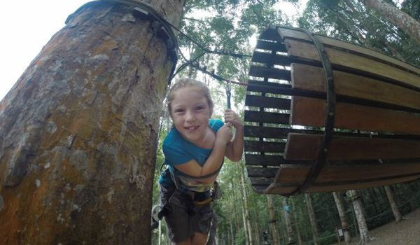 Having heaps of fun at the Bali Treetop Adventure Park just outside of Ubud