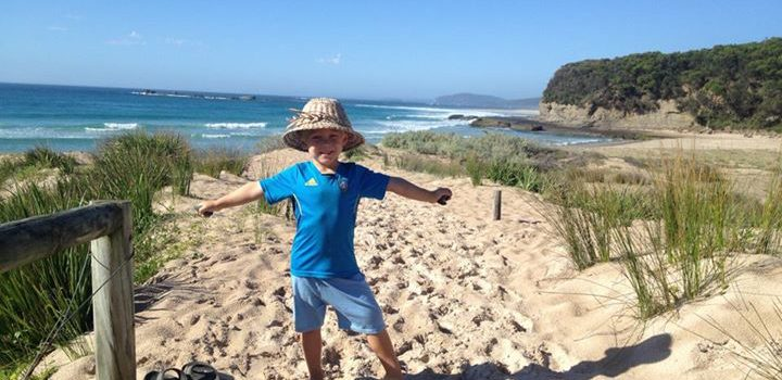 Our 4-year old at Pretty Beach on the East Coast of Australia
